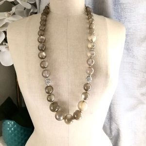 TALBOTS tigers eye ombré beaded long necklace